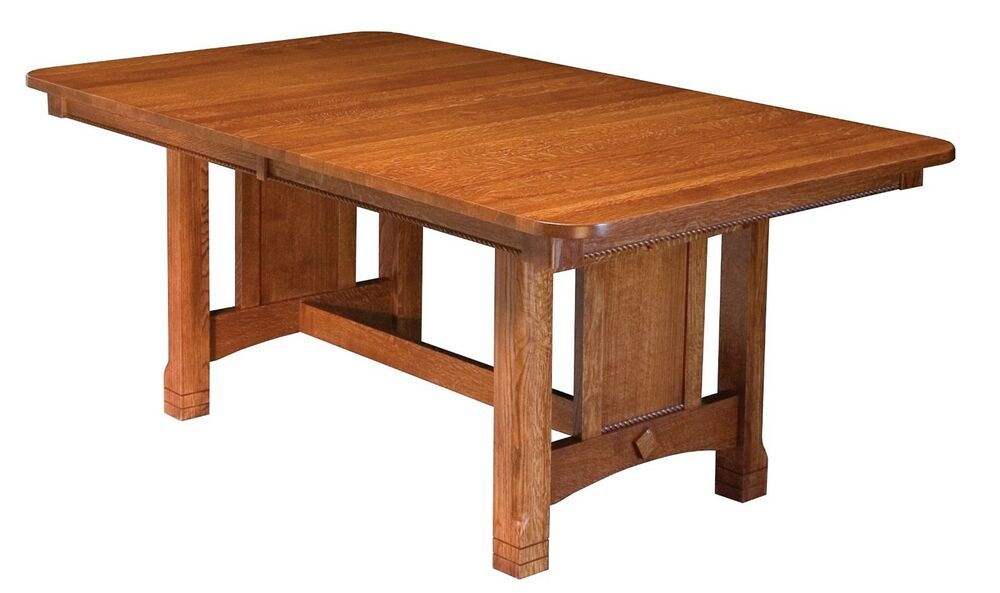 Amish mission west lake trestle dining table solid wood