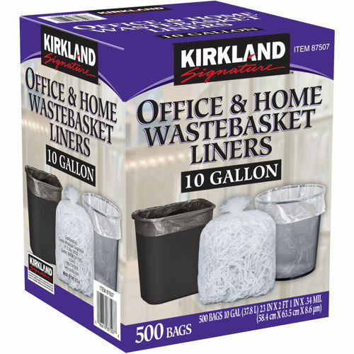 Kirkland Signature 10 Gallon Clear Wastebasket Liner 500