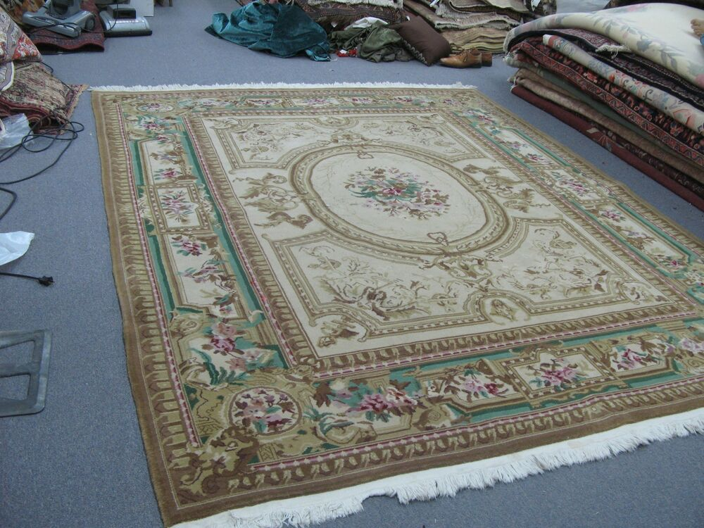 Very Fine Chinese Aubusson Sino Hand Knotted Wool Pile Rug