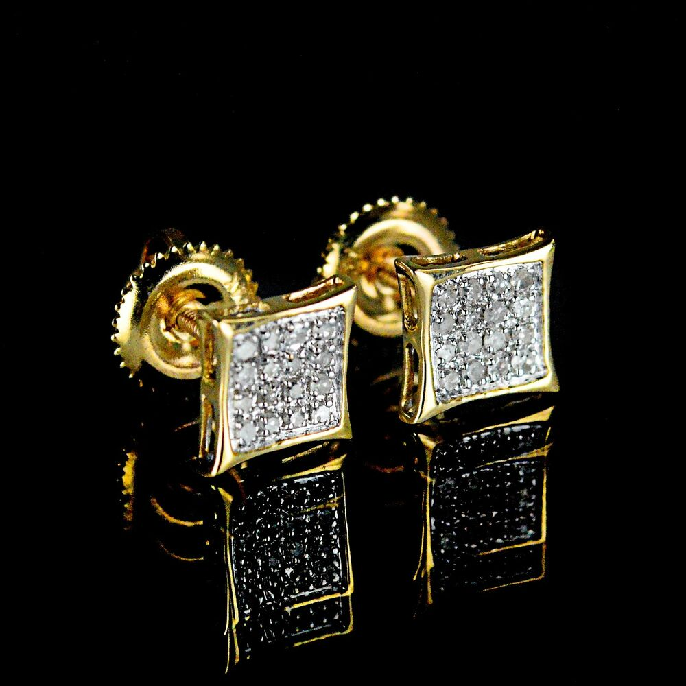 new men 39 s ladies yellow 14k gold real diamond earrings. Black Bedroom Furniture Sets. Home Design Ideas
