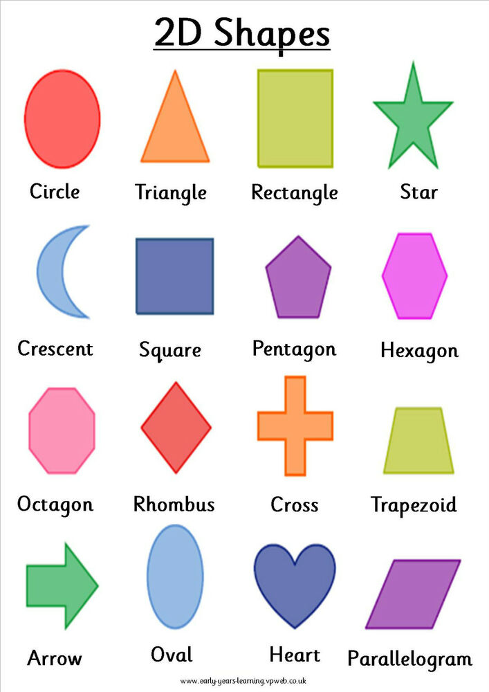 2d Shapes X 16 On A4 Poster For Nursery Childminder School