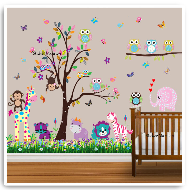 eule tier wand sticker affe dschungel zoo baum kinderzimmer baby kinder ebay. Black Bedroom Furniture Sets. Home Design Ideas