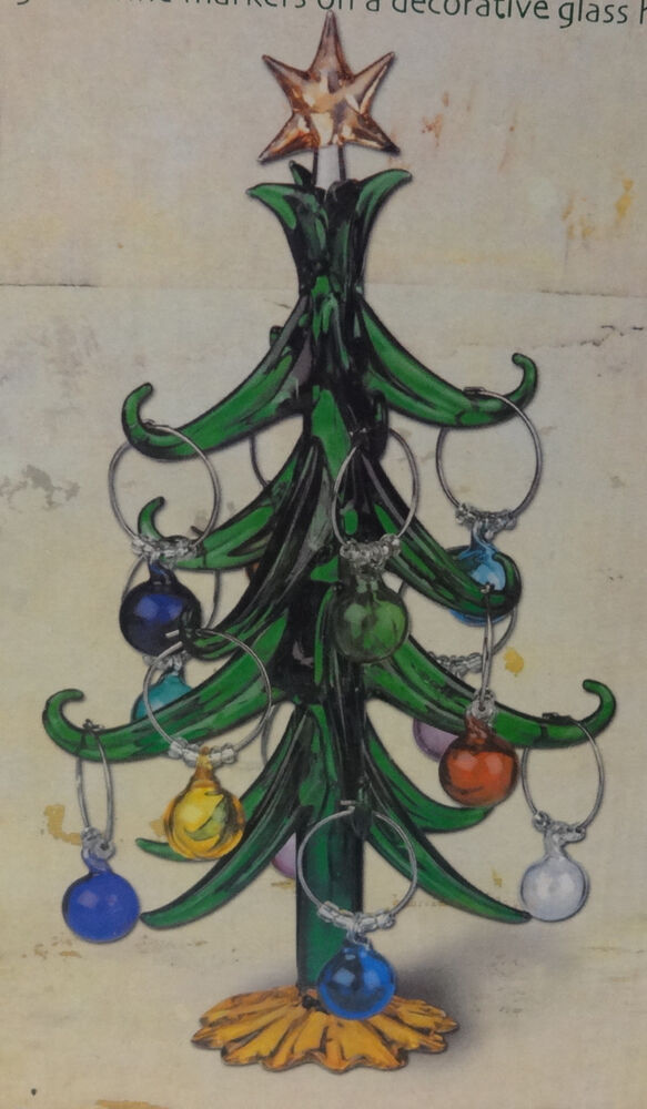 Vintage art glass decoration christmas tree with hanging