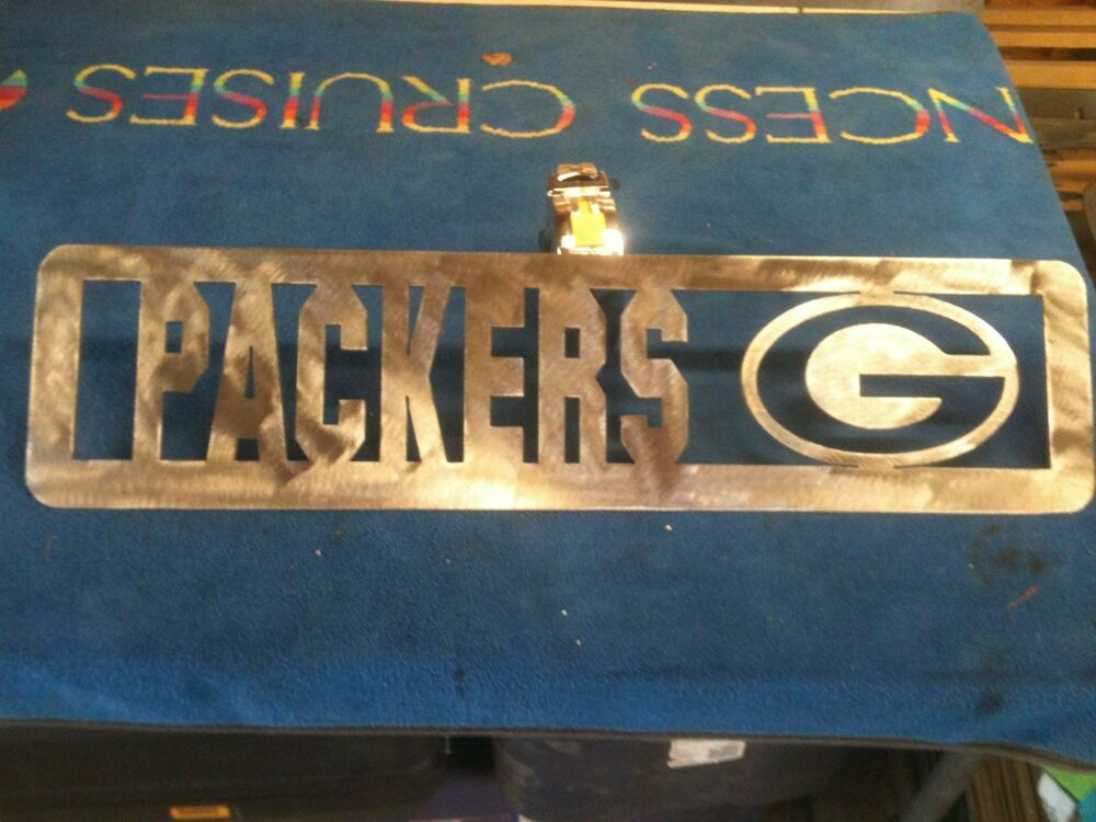 Plasma Cut Green Bay Packers Plaque Metal Sign Mancave