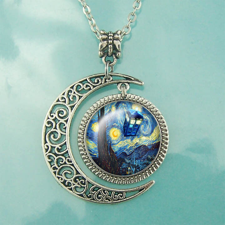 Tardis Doctor Who Starry Night necklace Moon jewelry Van ...