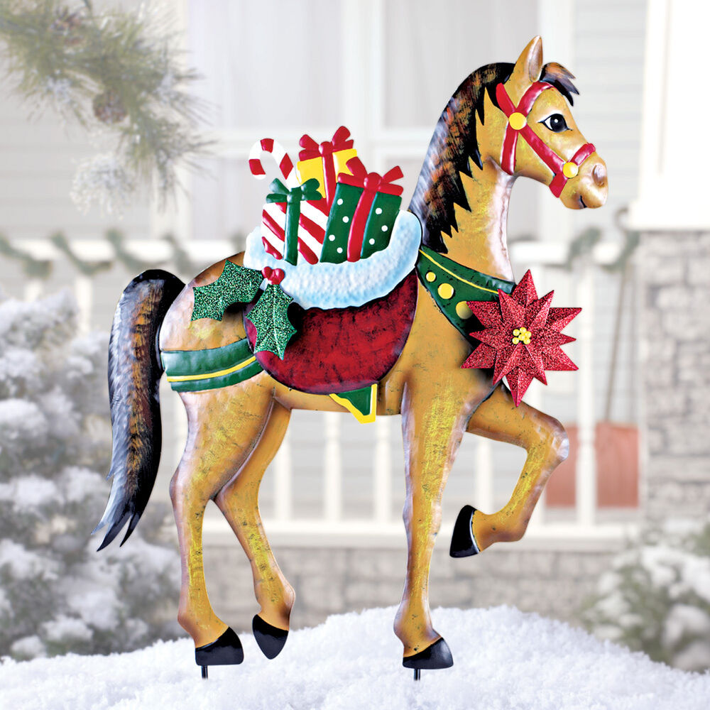 Holiday horse with gifts garden stake christmas decoration