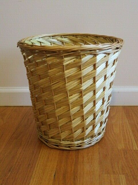 Small branded natural wicker round willow waste basket trash can garbage storage ebay - Wicker trash basket ...