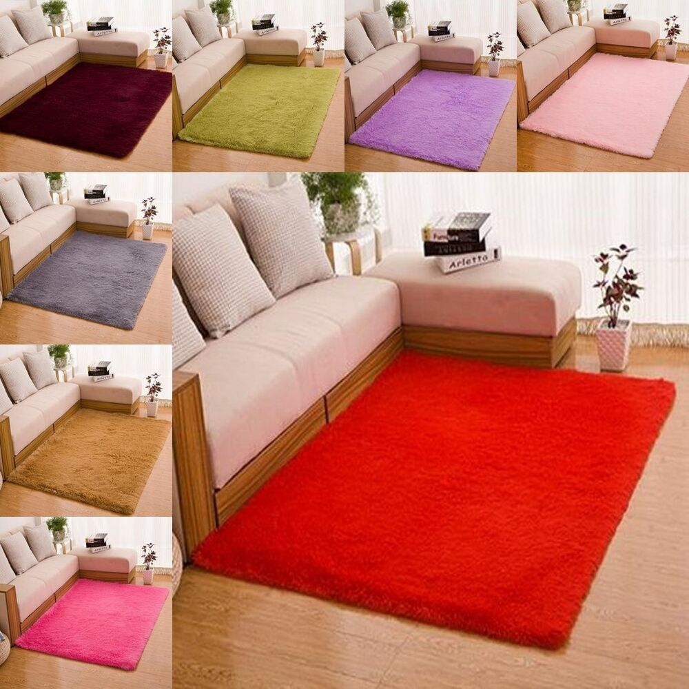 new 2 size home living room bedroom floor carpet mats soft rectangle area rug ebay. Black Bedroom Furniture Sets. Home Design Ideas