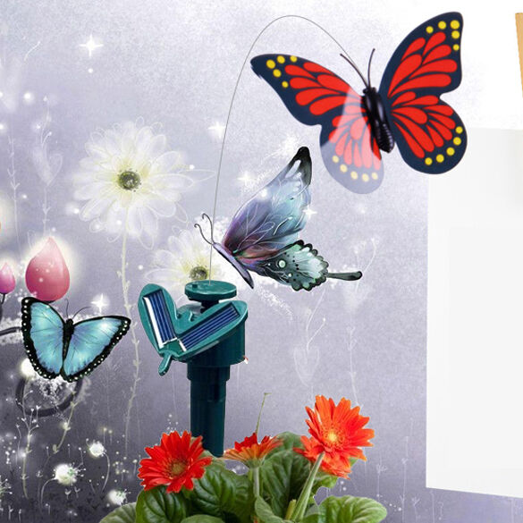 Solar powered flying color butterfly 3 pcs set butterflies for Outdoor butterfly decor
