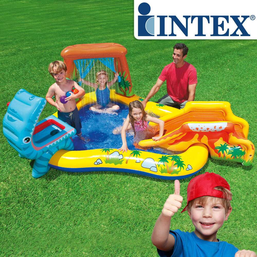 intex planschbecken kinder pool mit rutsche spielhaus spielcenter wasserrutsche ebay. Black Bedroom Furniture Sets. Home Design Ideas