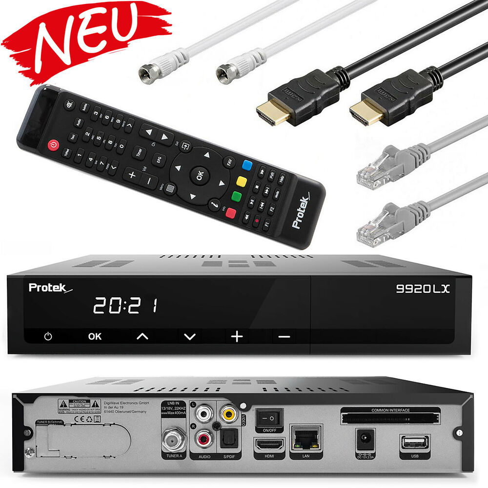 protek 9911 lx hd ip hdtv sat receiver hdmi kabel lan kabel sat kabel ebay. Black Bedroom Furniture Sets. Home Design Ideas