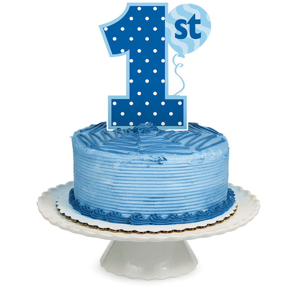 Cake Topper Age 1 1st Birthday Party Royal Blue Boy Cake ...