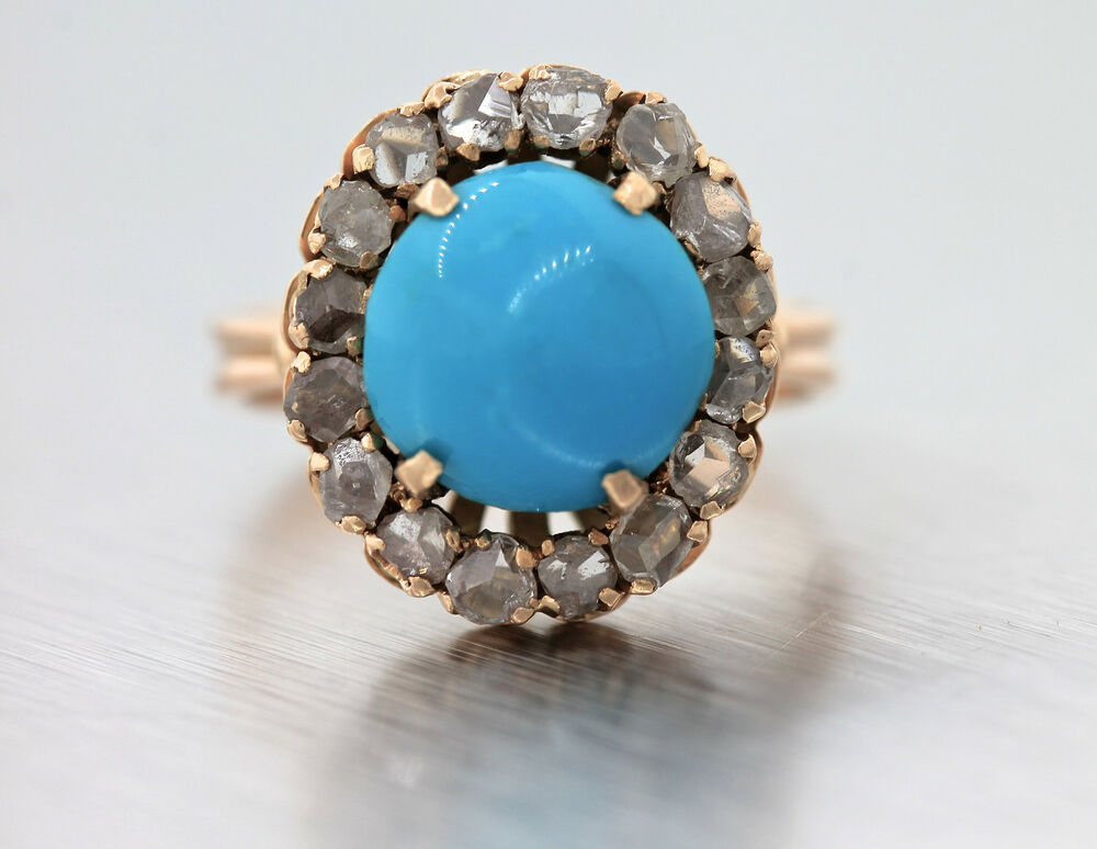 Lovely Ladies Antique Victorian 14k Rose Gold Turquoise