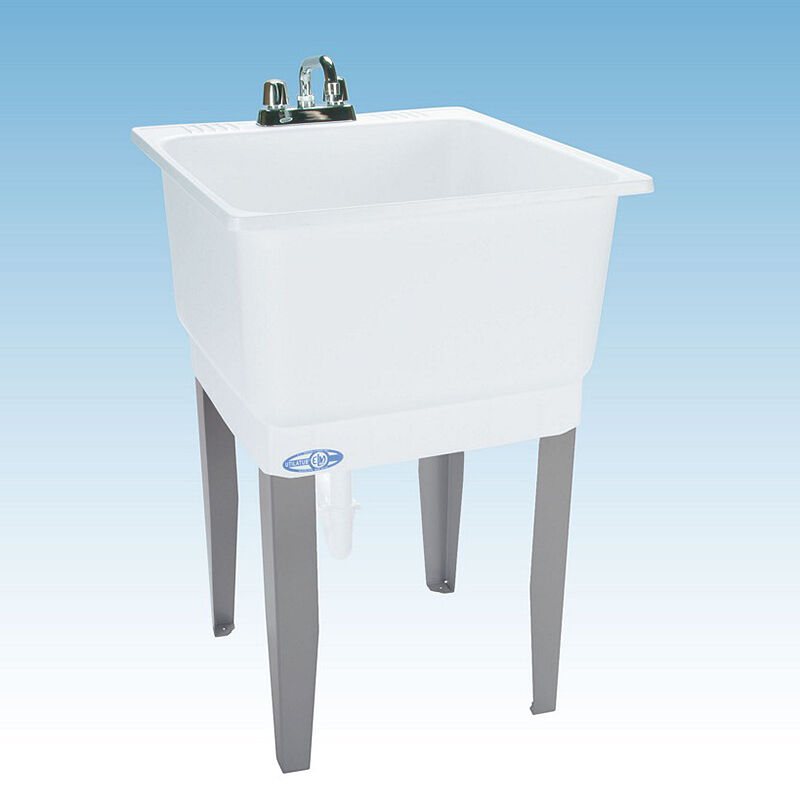 ... Sink Freestanding White Polypropylene Laundry Room Wash Tub Basin Bowl