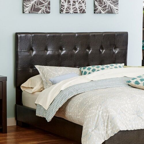King size headboard faux leather brown bedroom furniture grid stitching detail ebay for Brown leather bedroom furniture
