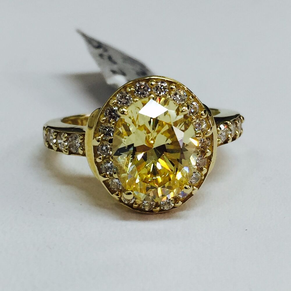 14k yellow gold fancy yellow oval cz halo engagement ring. Black Bedroom Furniture Sets. Home Design Ideas