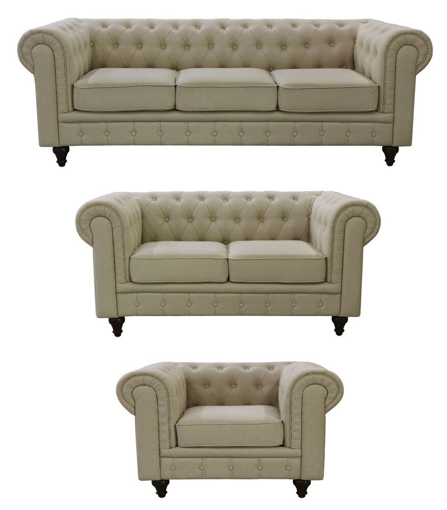 chesterfield beige linen fabric tufted buttons and scroll arms sofa 5size option ebay. Black Bedroom Furniture Sets. Home Design Ideas