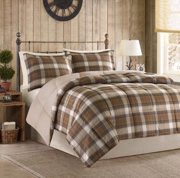 Woolrich Bedding Full Queen Tan Plaid 3 Piece Comforter