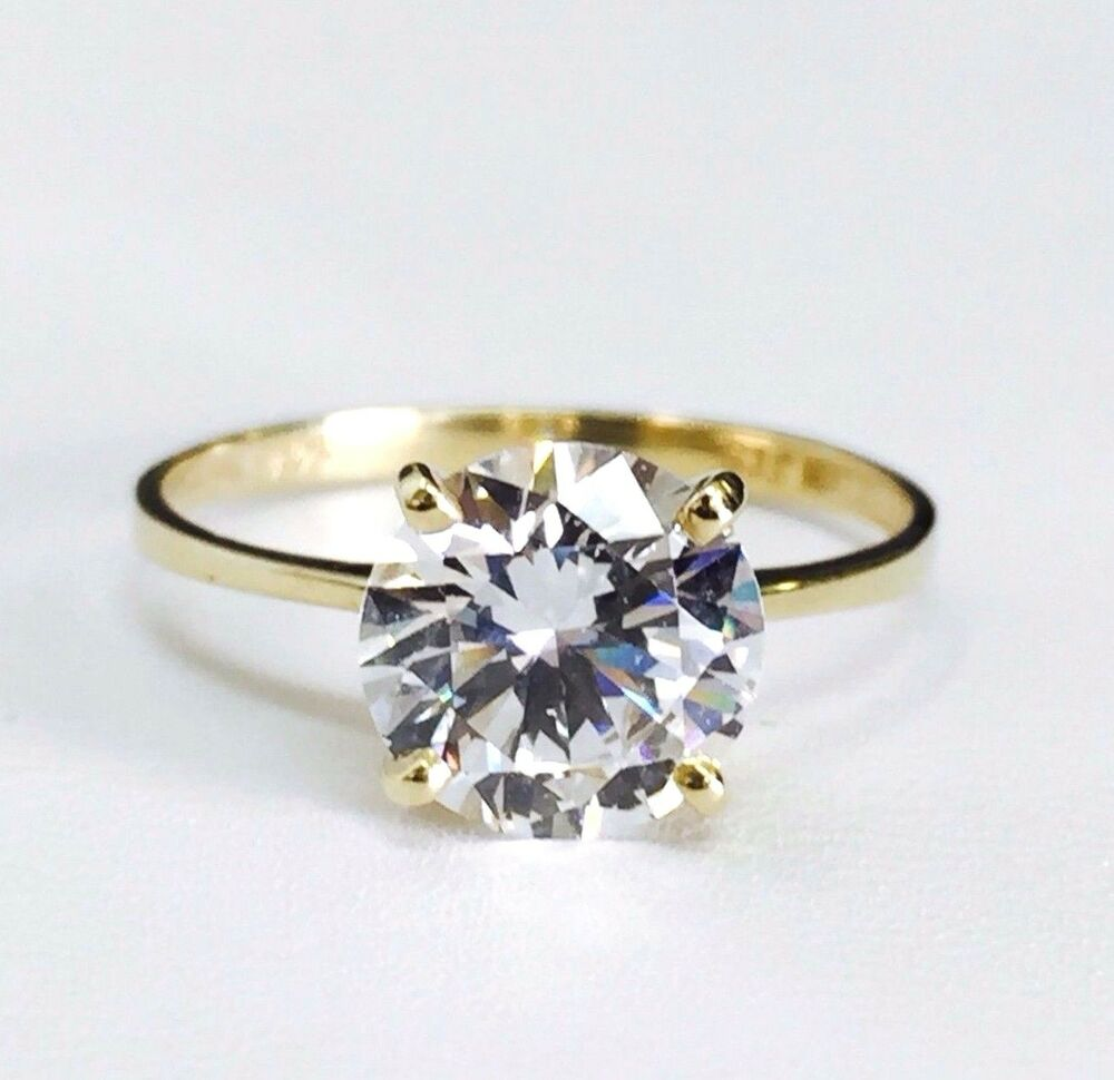 Engagement Rings In Gold: 14K Solid Yellow Gold Solitaire CZ Engagement Ring 8mm