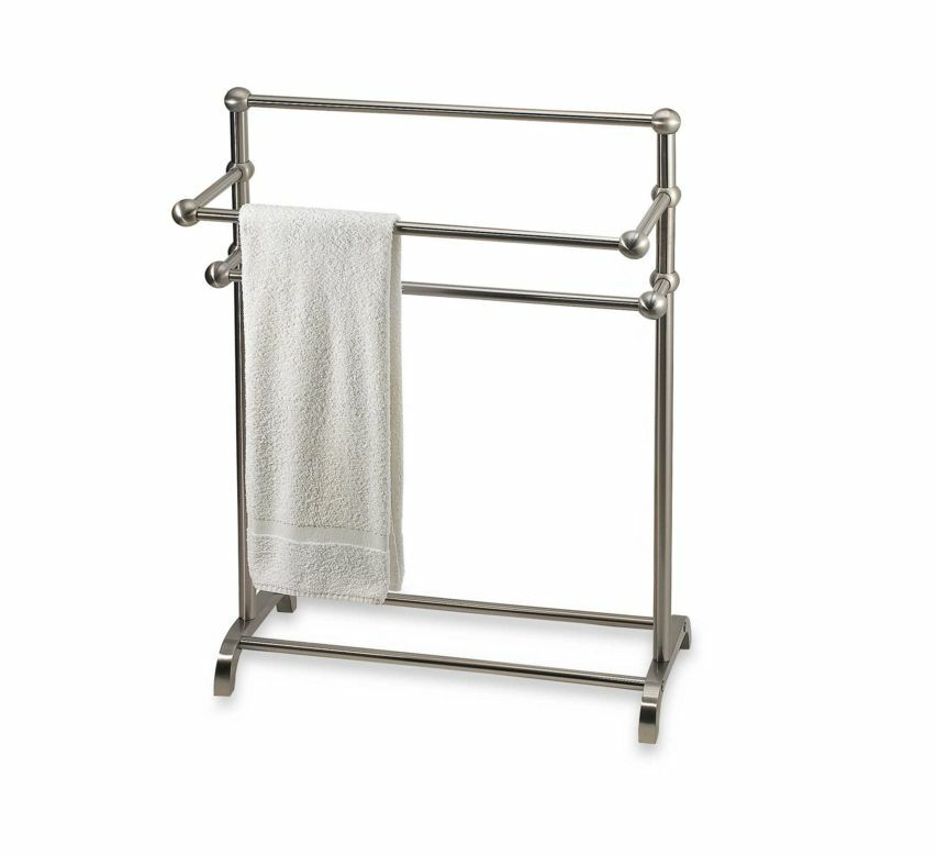 Bathroom towel valet bath bathrobe bar rack floor stand for Bathroom towel racks