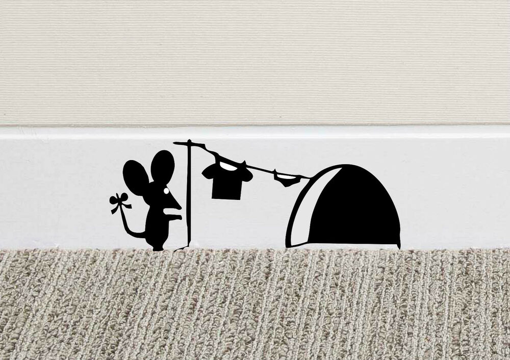 B213 Mouse Hole Wall Art Sticker Washing Vinyl Mice Home