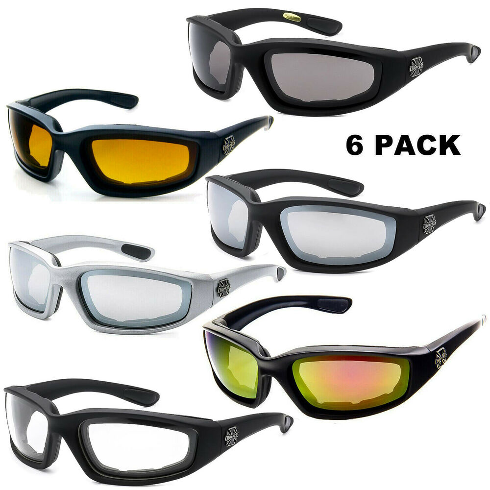 10370876d8 Details about 6 PACK COMBO Chopper Sunglasses Padded Wind Resistant  Motorcycle Riding Glasses