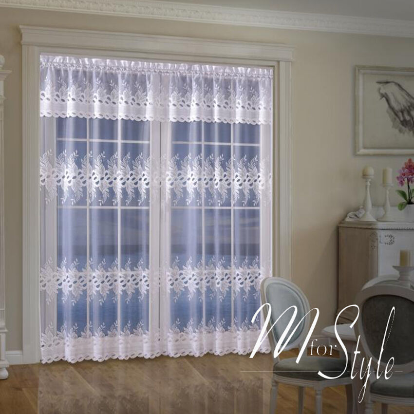 Long net curtain single panel slot top white ready made for Single glass patio door