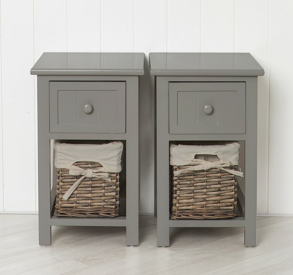 Pair of shabby chic grey bedside units tables drawers with for Bedside tables with storage