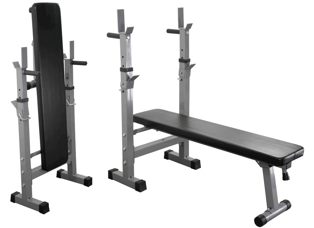 Weight Bench Dip Station Folding Adjustable Incline Flat Ebay
