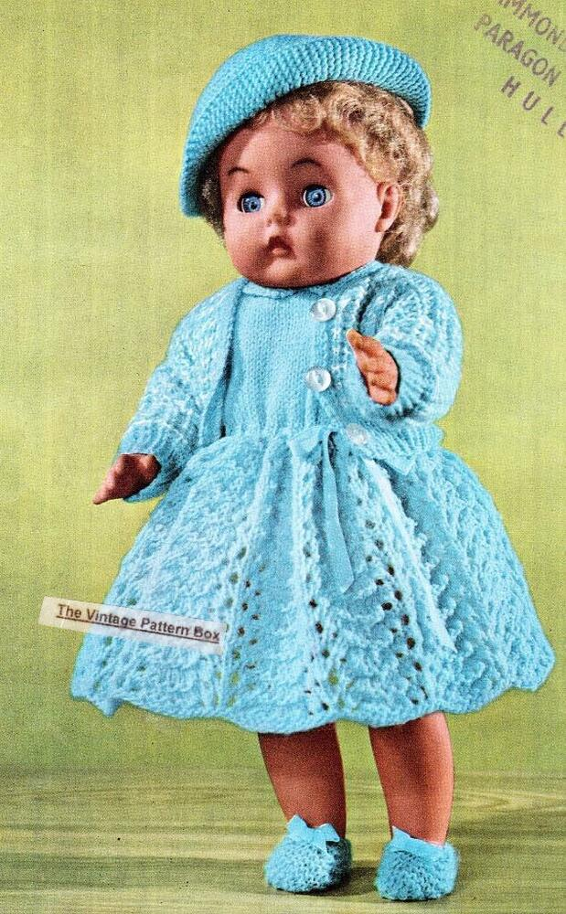 "VINTAGE DOLLS OUTFIT - 16""/ 4ply - COPY doll knitting ..."