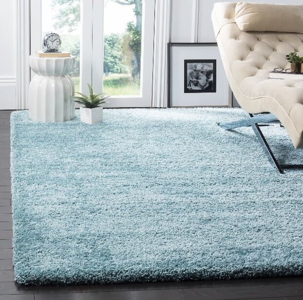 Soft aqua blue shag area rug rugs 8 39 x 10 39 4 6 5 8 7 10 8 for Living room rugs 6x9