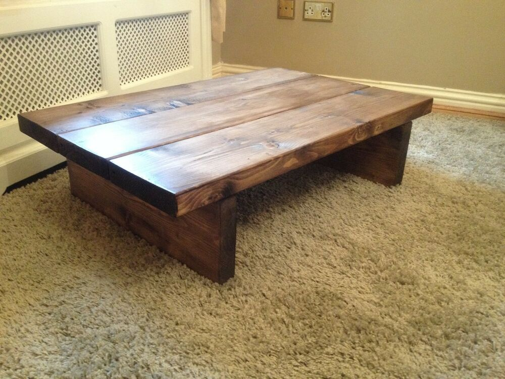 Coffee table solid wood rustic chunky handmade ebay Rustic wooden coffee tables