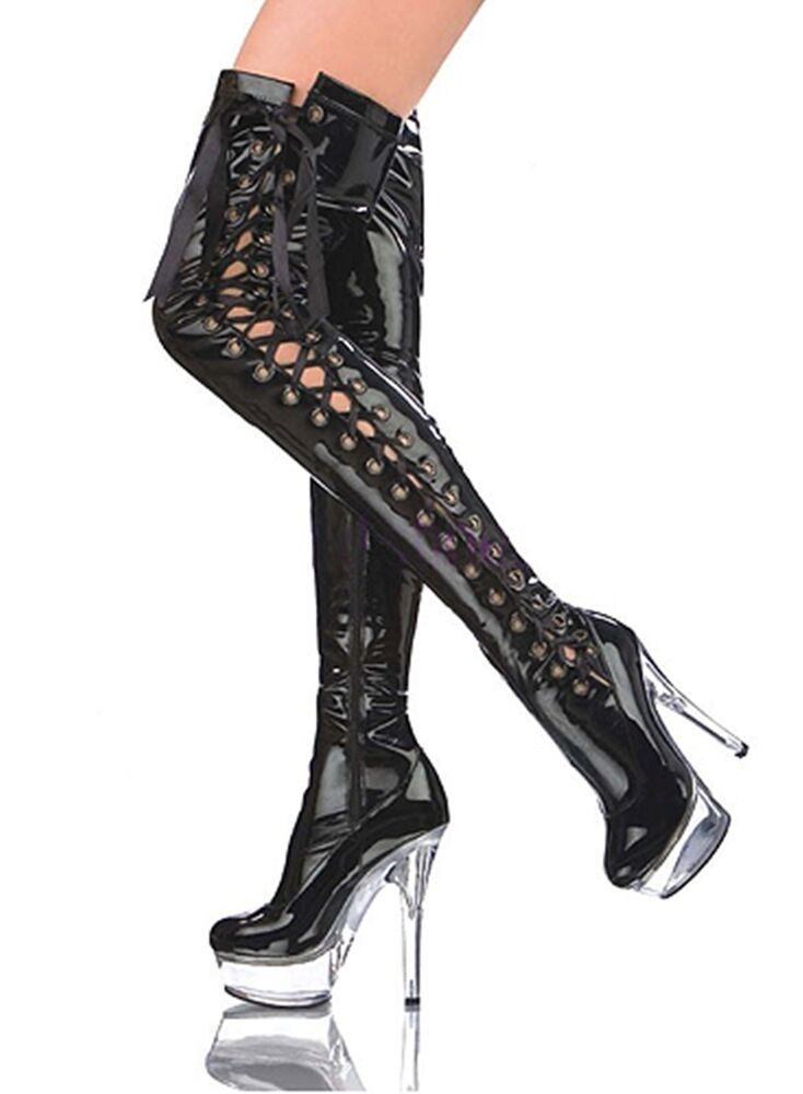 sexy plateau high heels overknee lack stiefel stiletto gogo boots damen schuhe ebay. Black Bedroom Furniture Sets. Home Design Ideas