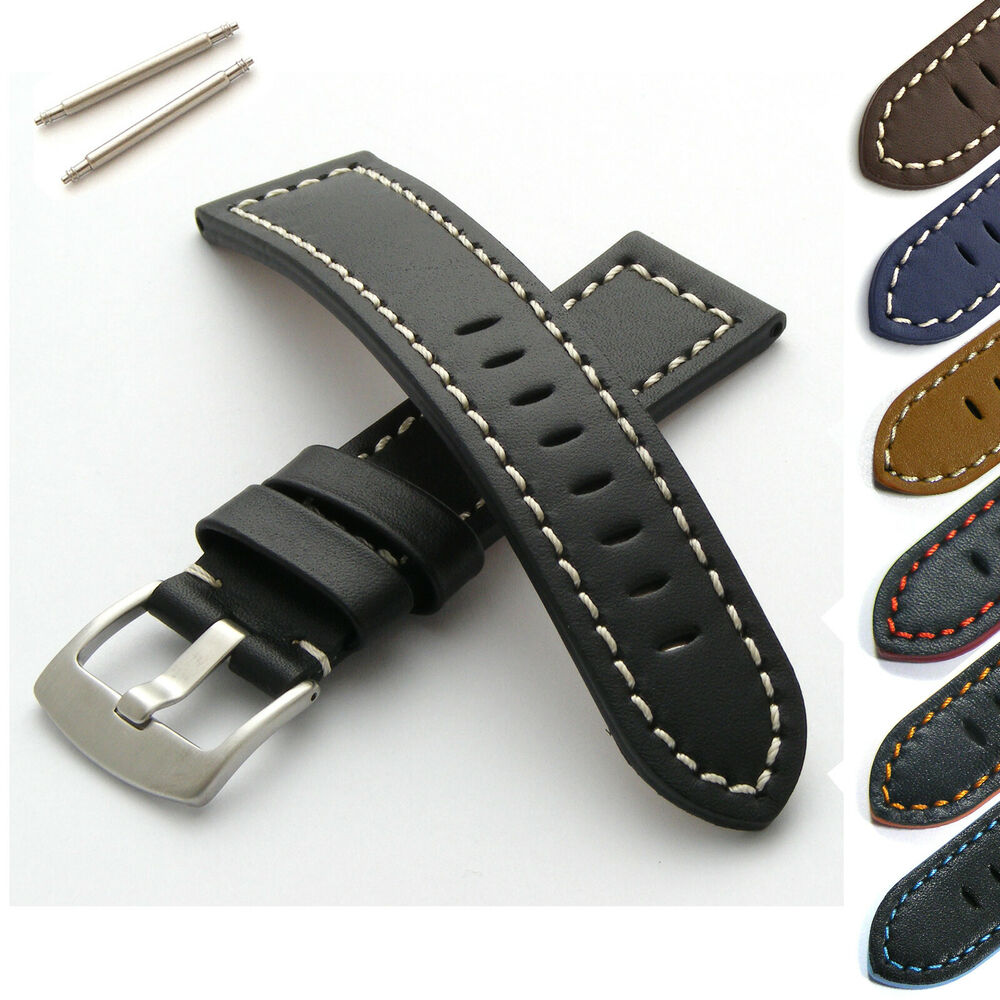Genuine leather watch strap with brushed steel buckle 18 20 22 24mm ebay for Men gradient leather strap