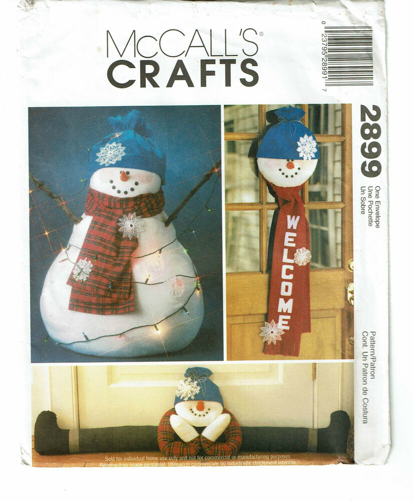 Mccalls crafts pattern 2899 snowmen ebay for Crafts that sell on ebay