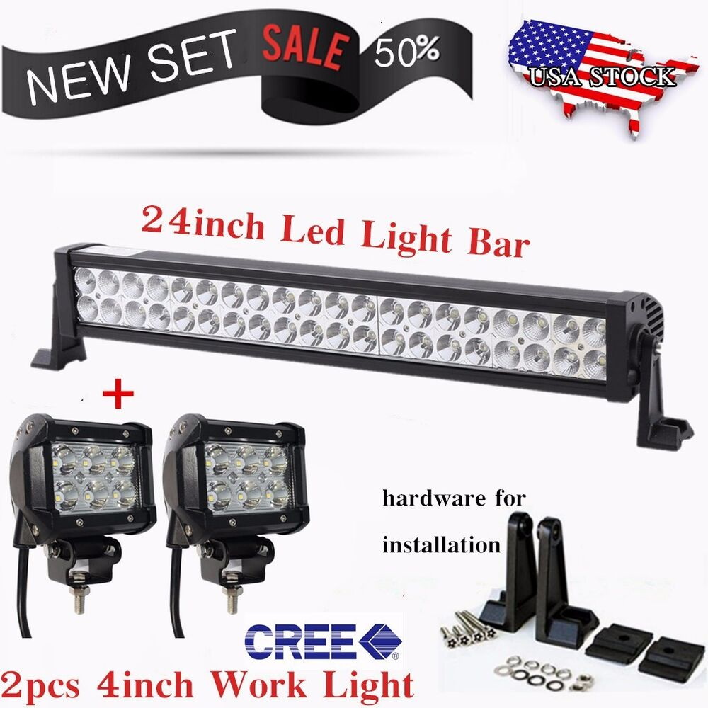 High Power 200w 20 Inch Jeep Accessories Led Light Bar For: 24inch LED LIGHT BAR +2pcs 4inch CREE FLOOD WORK LIGHTS
