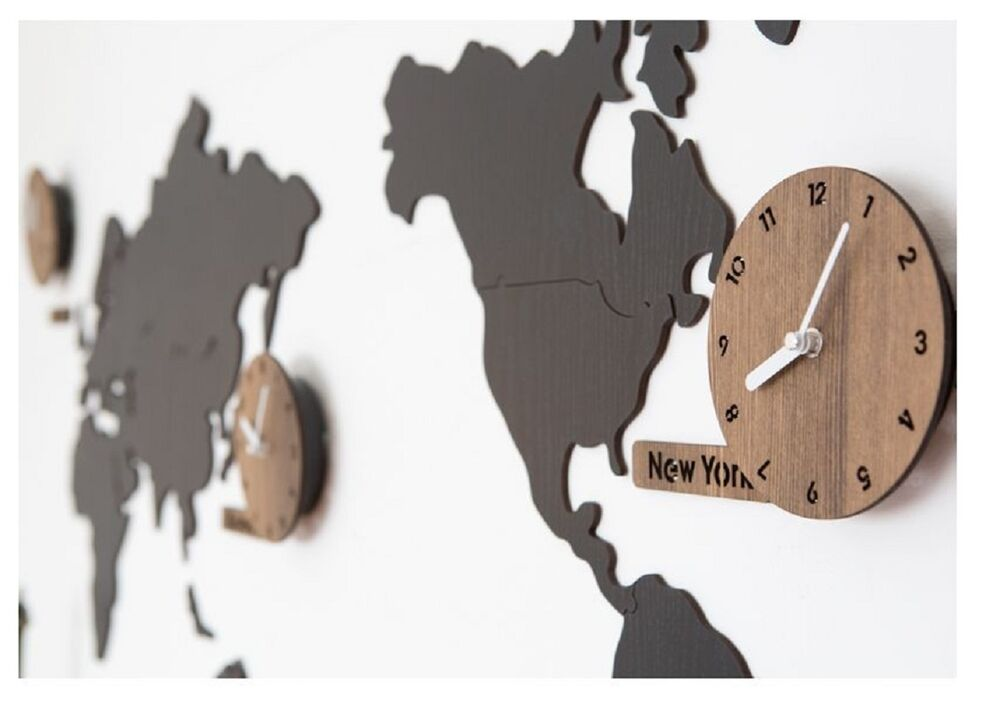Wooden World map wall clock 3 country time puzzle diy wall ...