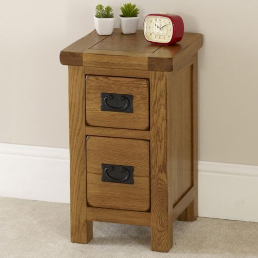 rustic oak 2 drawer slim bedside table solid bedroom