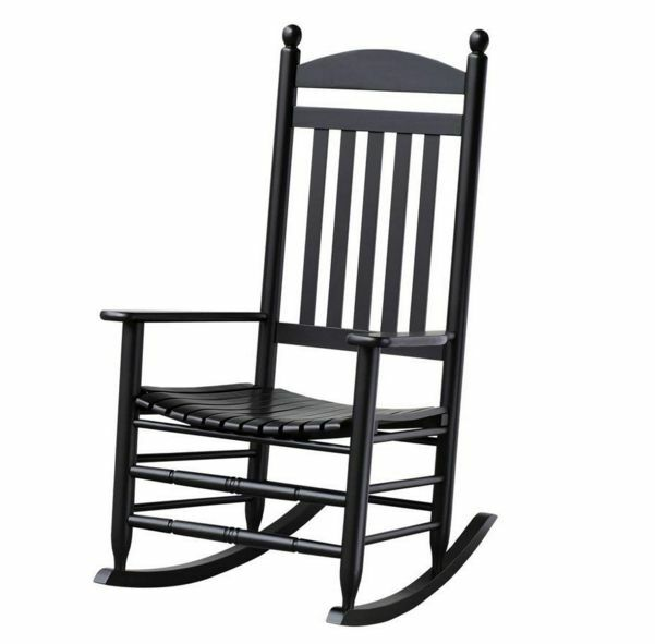 new outdoor black slat wood porch deck patio rocking chair rocker seat furniture ebay. Black Bedroom Furniture Sets. Home Design Ideas