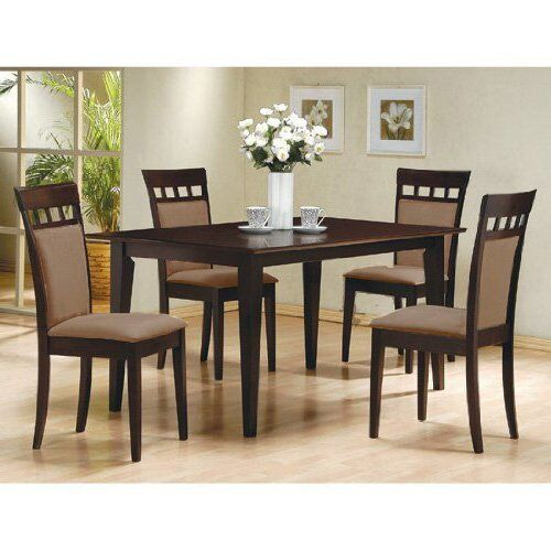 5pc espresso dining room kitchen set table 4 microfiber for Kitchen and dining room chairs