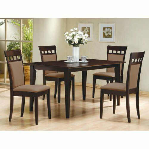 Modern 5pc Dining Table Set Kitchen Dinette Chairs: 5pc Espresso Dining Room Kitchen Set Table & 4 Microfiber