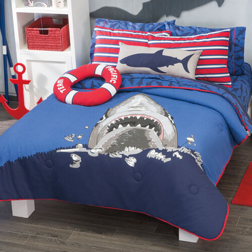 Boys And Teens Twin And Full Size Shark Comforter Set Ebay