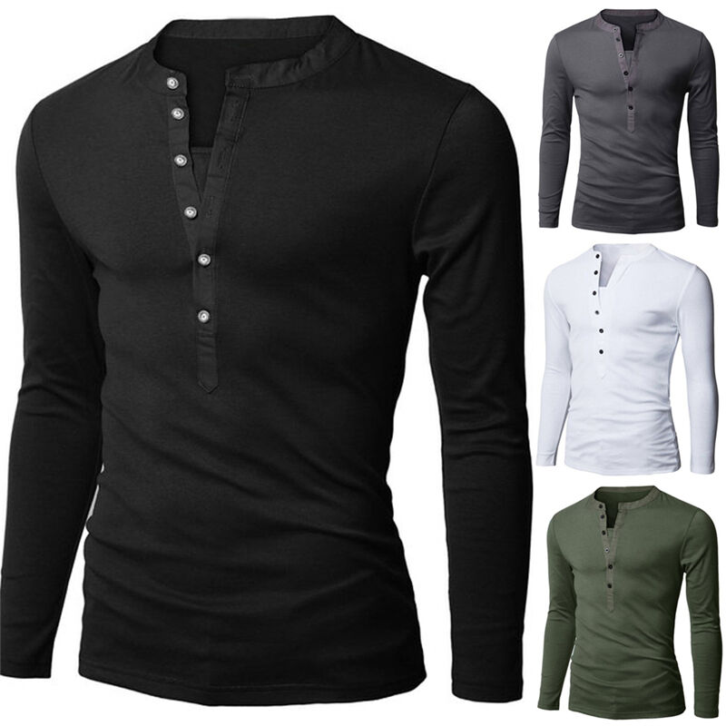 T shirt men button front long sleeve v neck solid casual for Long sleeve fitted tee shirt