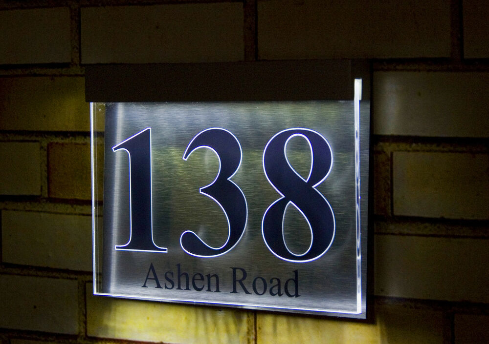 designer led light house number plaque unique quality. Black Bedroom Furniture Sets. Home Design Ideas