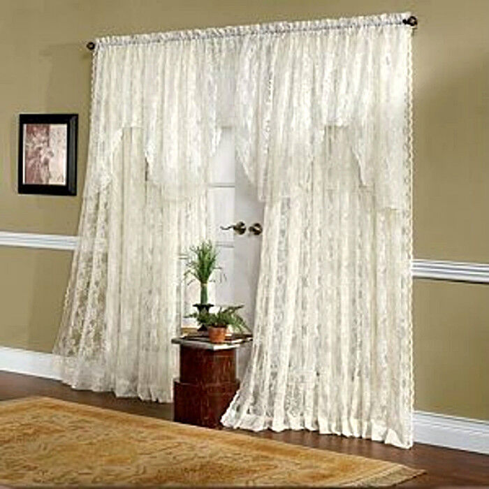 So Shabby Lace Curtains Extra Wide 120 X 84 Brand New