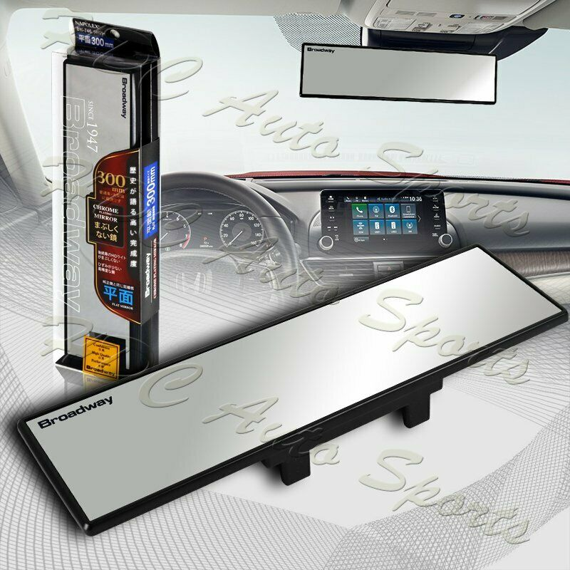 Universal Broadway 300mm Wide Flat Interior Clip On Rear View Clear Glass Mirror Ebay