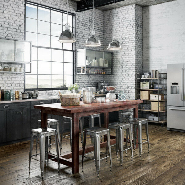Rustic Solid Timber 8 To 10 Seater Kitchen Island Desk