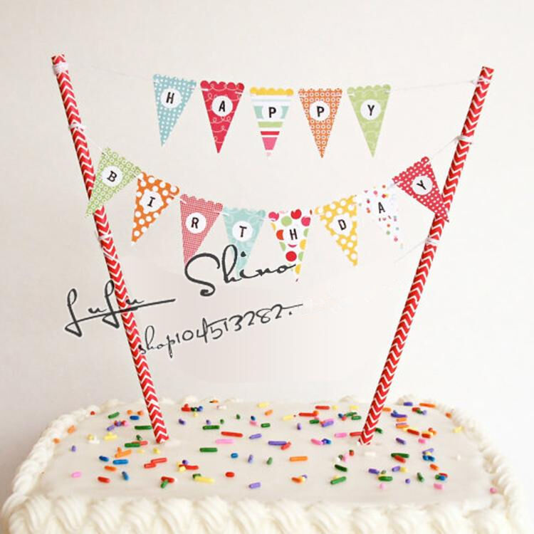 Birthday Cake Bunting Decoration : Rainbow Happy Birthday Cup Cake Banner Bunting Flags For ...