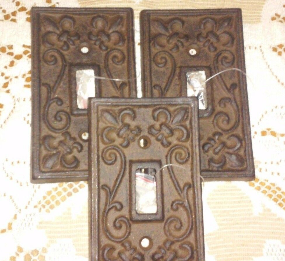 Set of 3 cast iron french fleur de lis electric light switch plate cover single ebay - Wrought iron switch plate covers ...