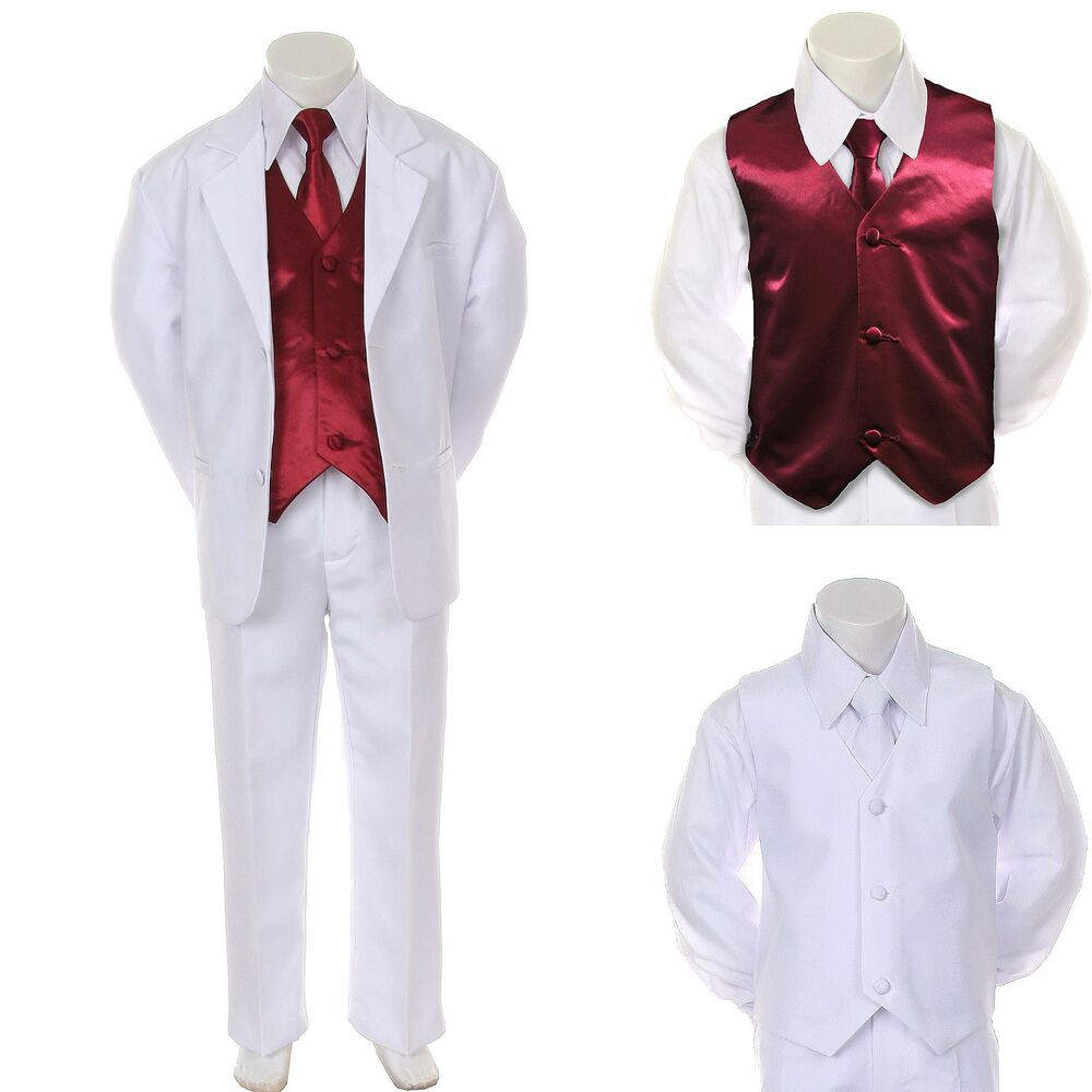 Boy teen formal wedding party prom white suit tuxedo for Black suit burgundy shirt